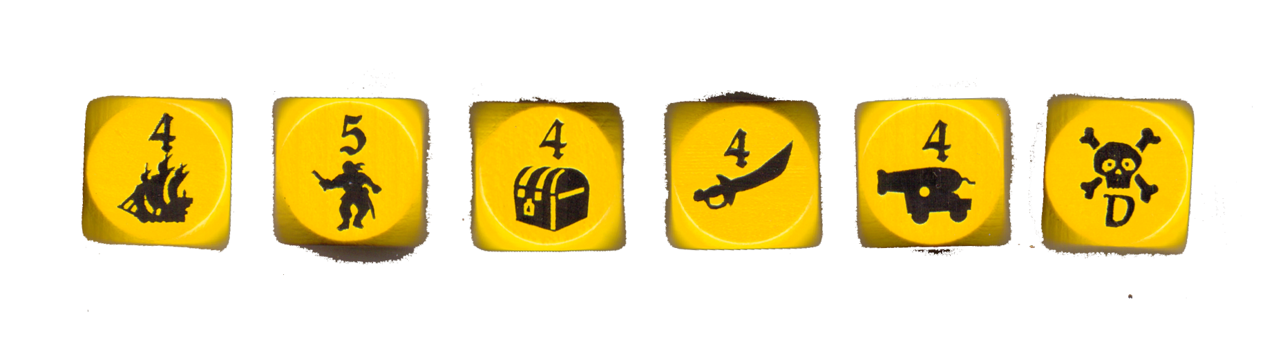Dice, from left to right: Sailing, Recruiting, Searching, Raiding, Sea Battle and Wild